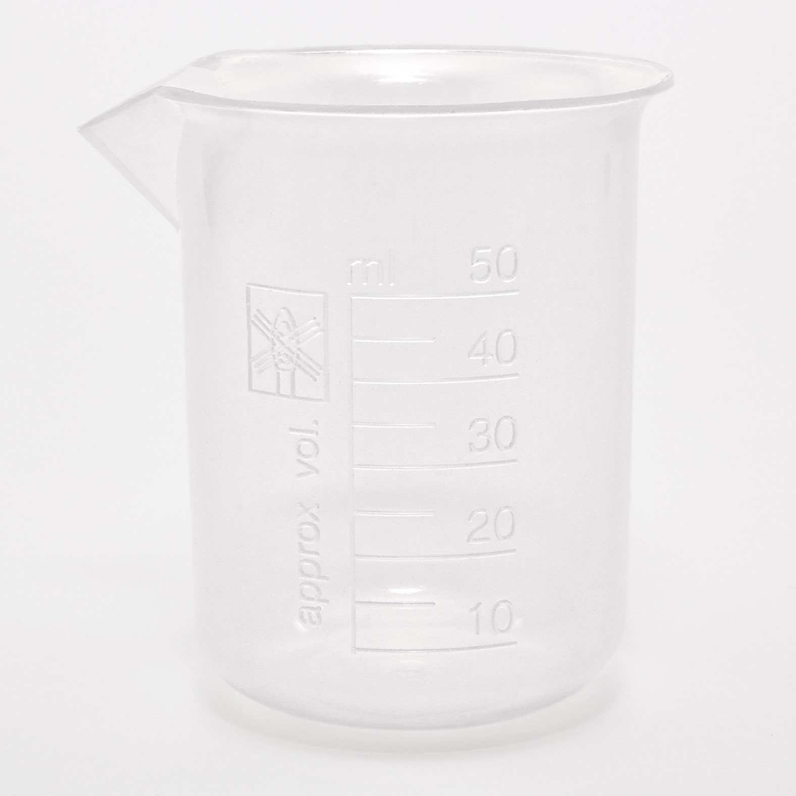 Plastic Measuring Beaker With Spout 50ml Purple Flame